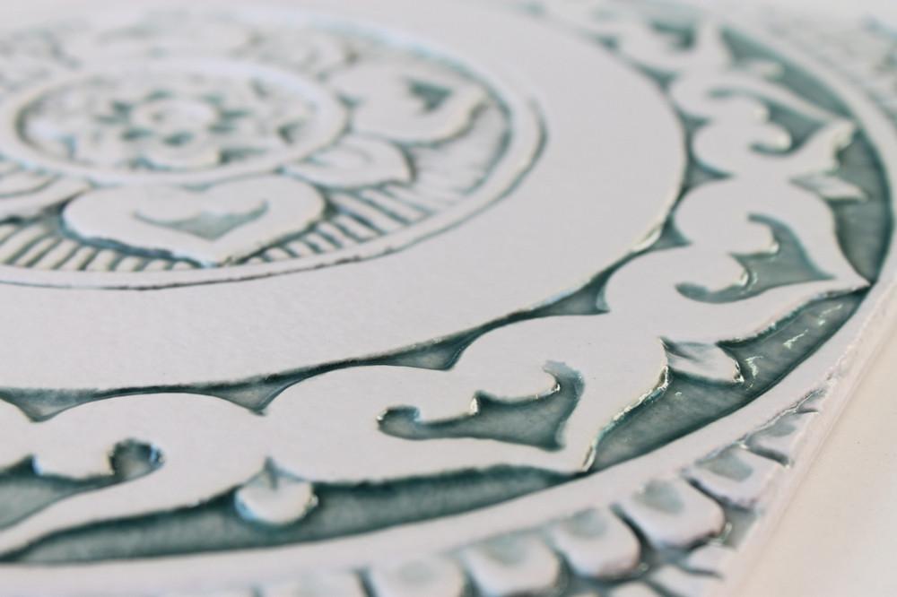 Mandalita ceramic wall art liso/R - Aqua [28cm]