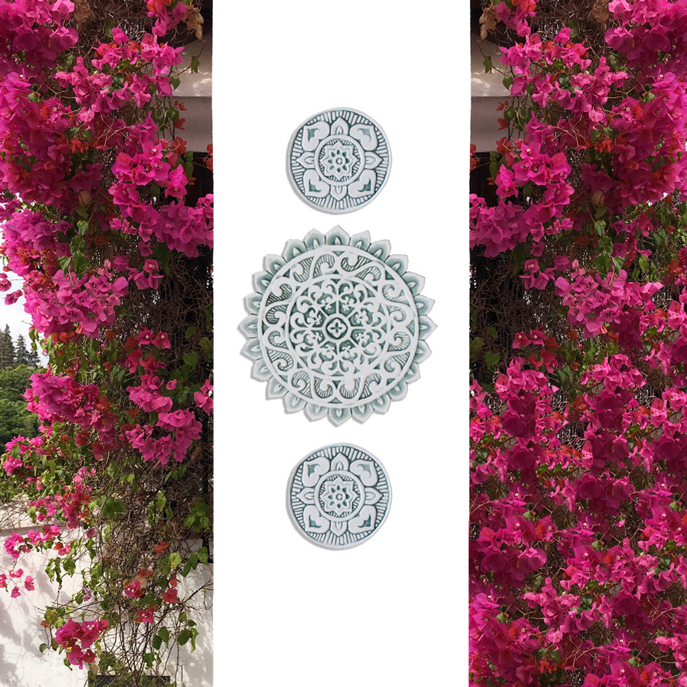 These circular tiles make beautiful outdoor wall art.  Aqua and white wall hangings for kitchens, bathrooms and wall decor. Our decorative tiles can also be combined with our other handmade tiles to make larger wall art installations.
