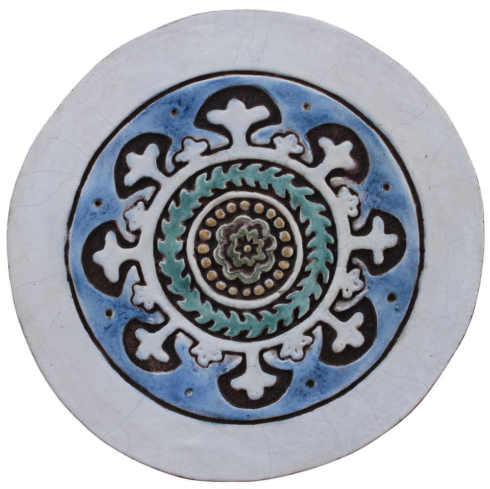 Ceramic wall art circles Suzani Matt blue SET10