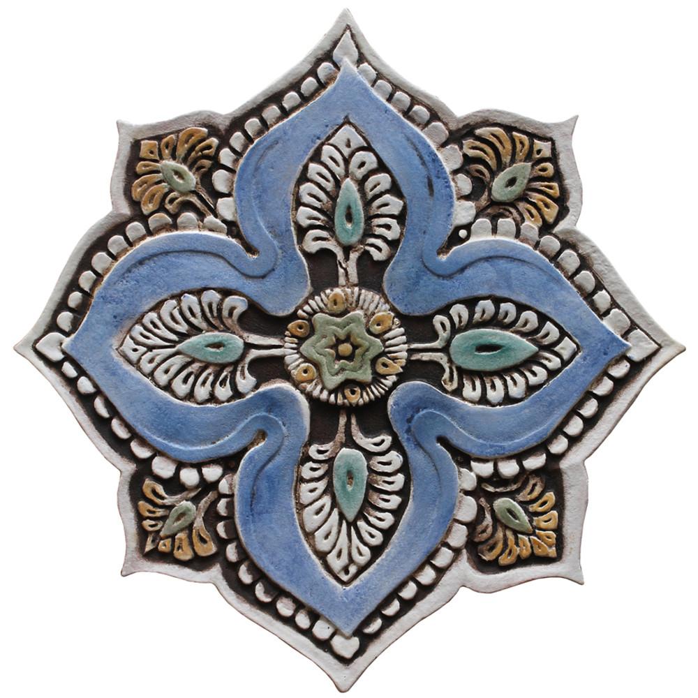 Ceramic wall art circles Mandala Matt blue SET10