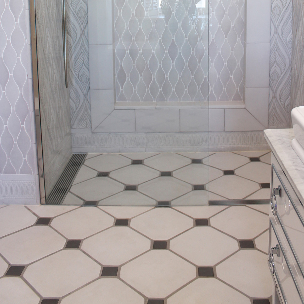 Floor tiles octagon white