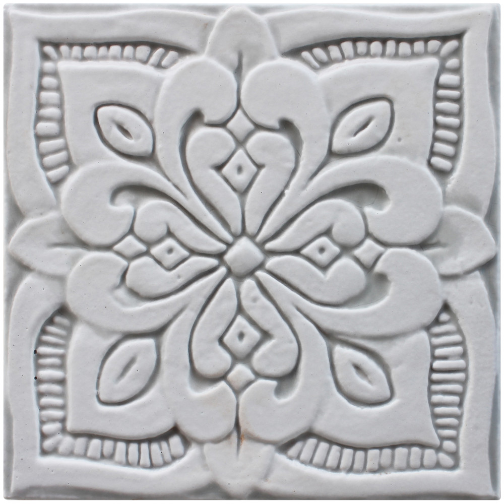 - Small Grey Moroccan Ceramic Tile #2, Grey, 15cm By G.Vega Ceramica