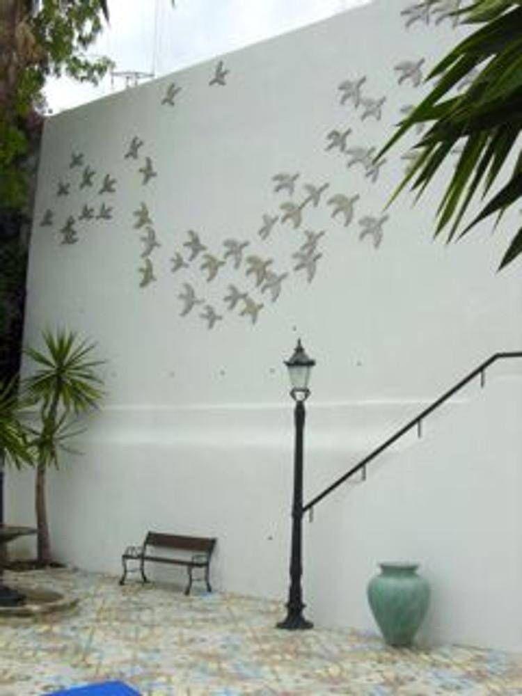 Handmade tile ceramic mural flying birds #2