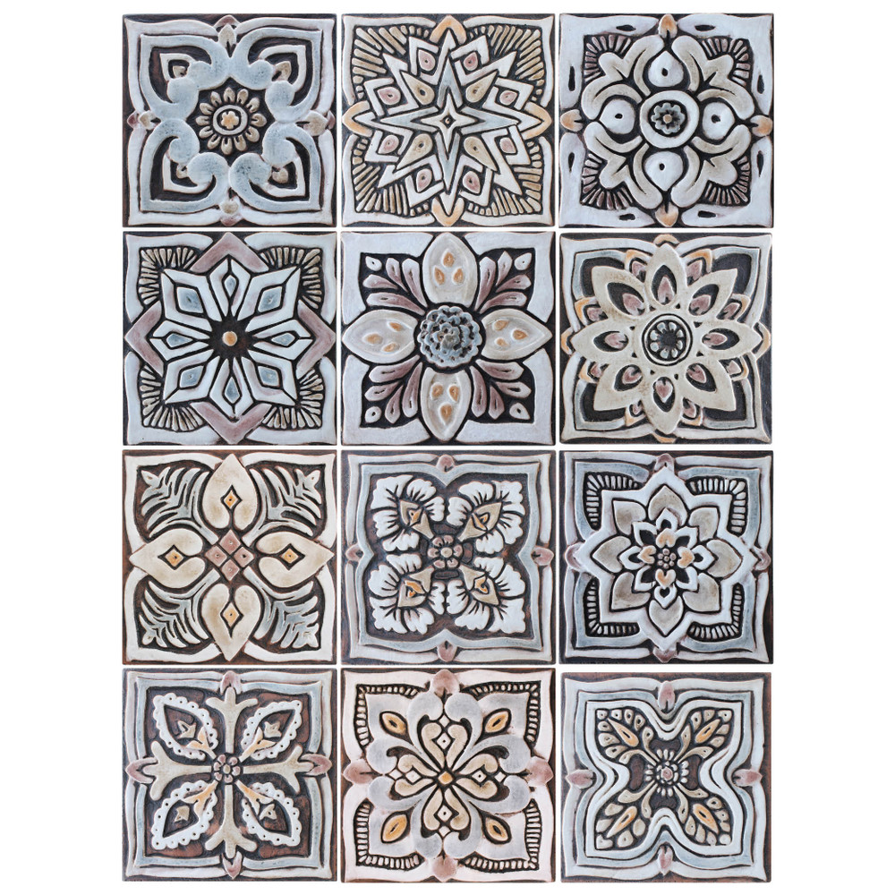 These handmade tiles make wonderful wall hangings and outdoor wall art.  Matt brown decorative tile handmade in Spain.