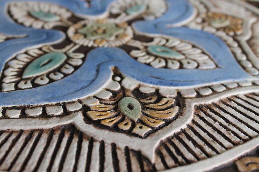 """Ceramic Wall Art circle Matt Blue Mandala #5 [30cm/11.8""""]"""