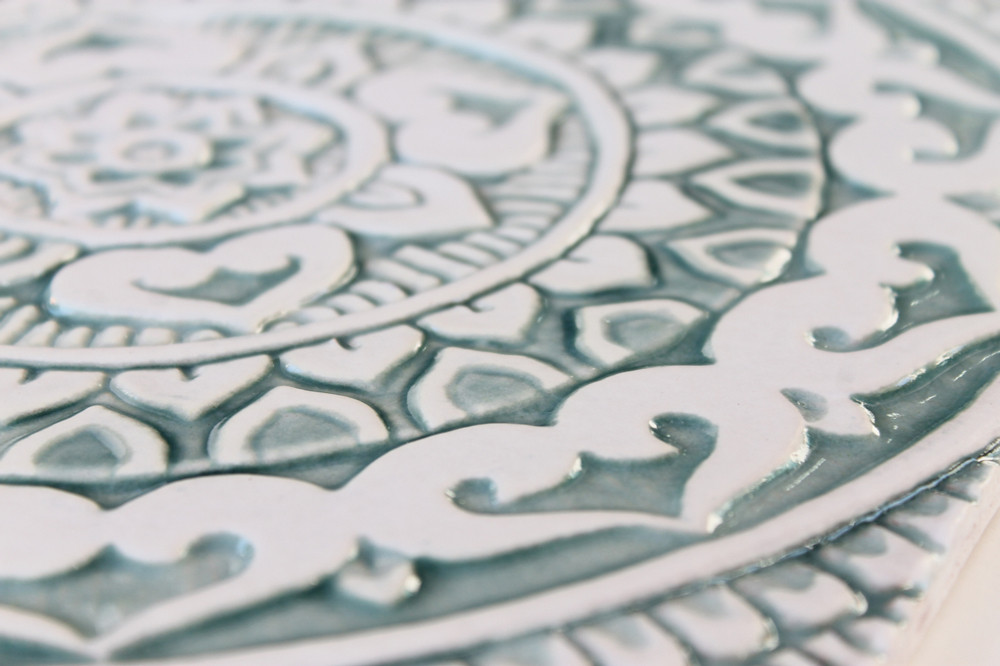 "Ceramic Wall Art circle aqua Mandalita deco [30cm/11.8""]"