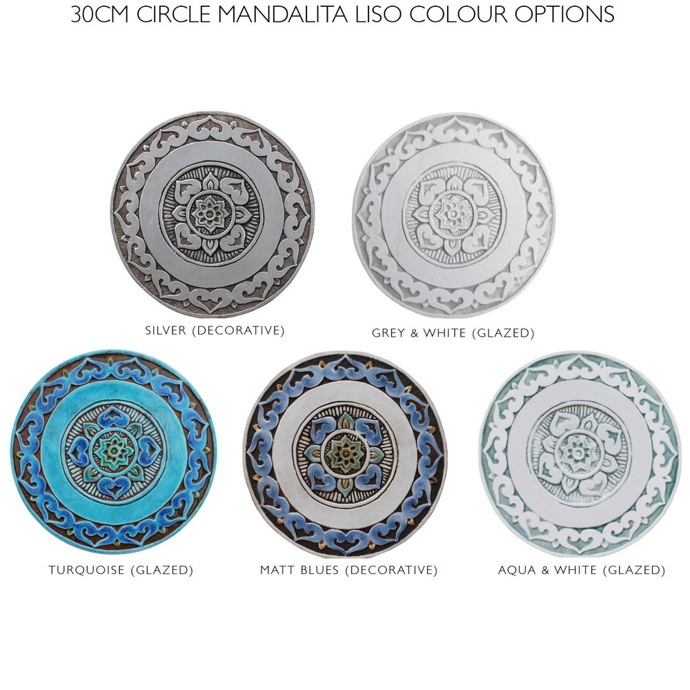 "Ceramic Wall Art circle aqua Mandalita liso [30cm/11.8""]"