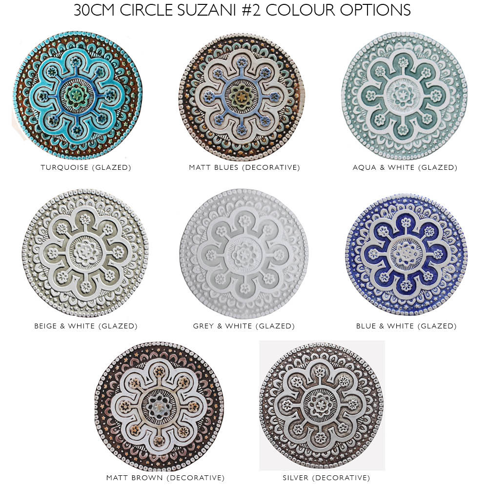 "Ceramic Wall Art circle aqua Suzani #2 [30cm/11.8""]"