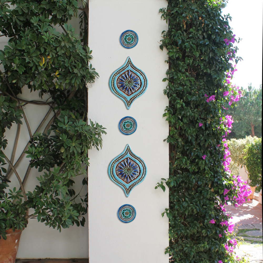 Turquoise outdoor wall art tiles handcrafted by gvega. Decorative tiles handmade in Spain.