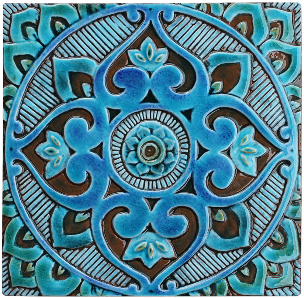 Handmade tiles glazed in turquoise