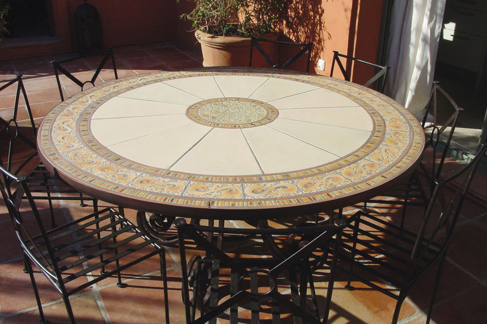 Outdoor Dining Table Mosaic Table Hiedra Swirls Round Terrace Table