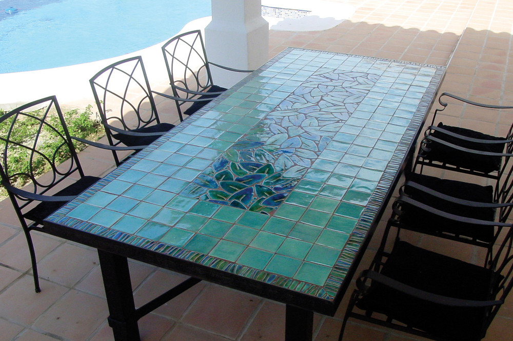 Outdoor Dining Table Mosaic Table Jungla Leaves Square Terrace Table