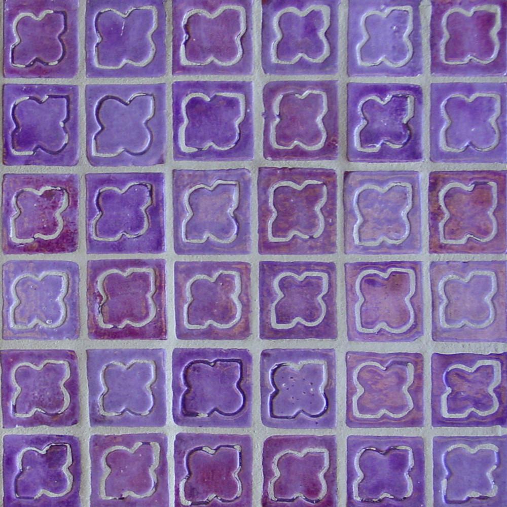 "Decorative tile ""Alhambra"". Glazed in crystalline purple tones."