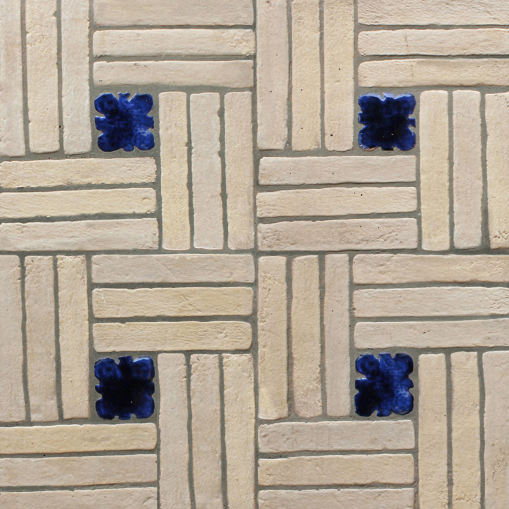 """Decorative tile """"Woven"""" - 20x20cm - Glazed in matt white with touches of crystalline navy blue."""