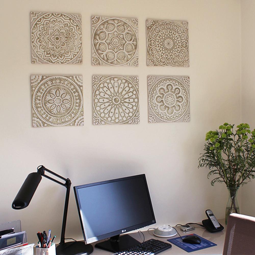"Handmade tile beige white suzani #3 [30cm/11.8""]"