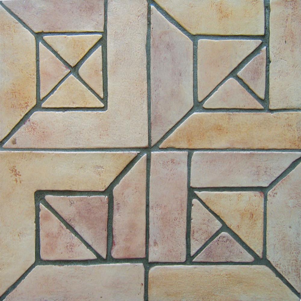 "Decorative tile ""Senegal"" - 20 x 20cm - Glazed in matt ocre, cream and browns."
