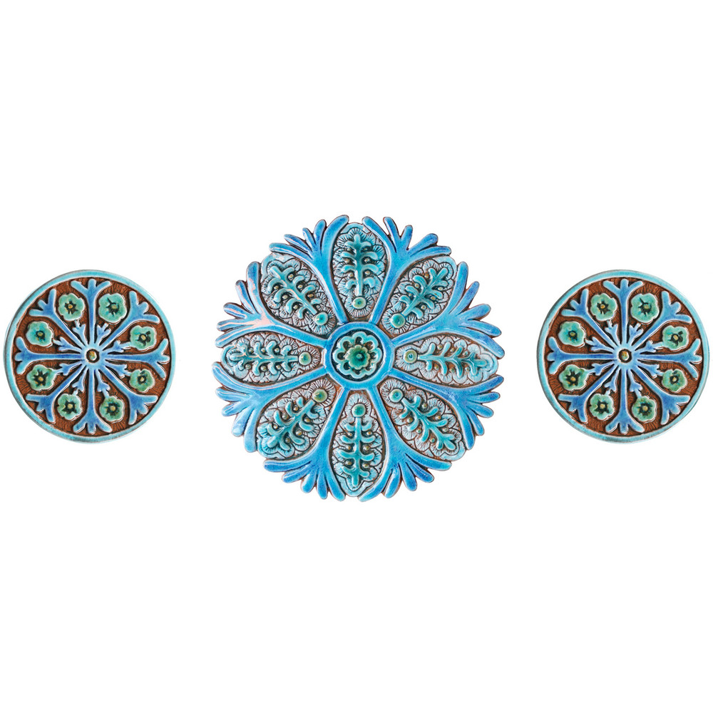 These handmade tiles are glazed in turquoise and make unique wall hangings for kitchens and bathrooms. Our decorative tiles also make wonderful outdoor wall art.  Circle garden decor handmade in Spain.