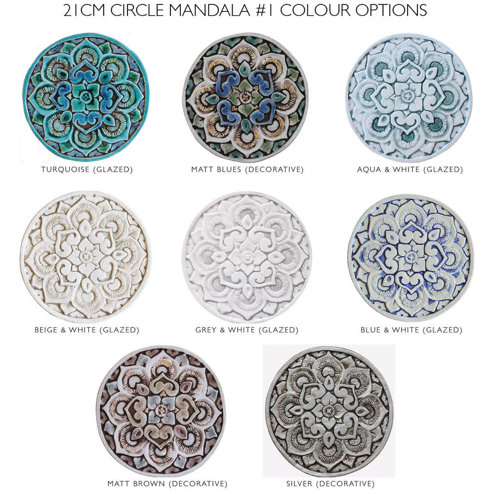 "Ceramic wall art circle Turquoise Mandala #1 [21cm/8.2""]"