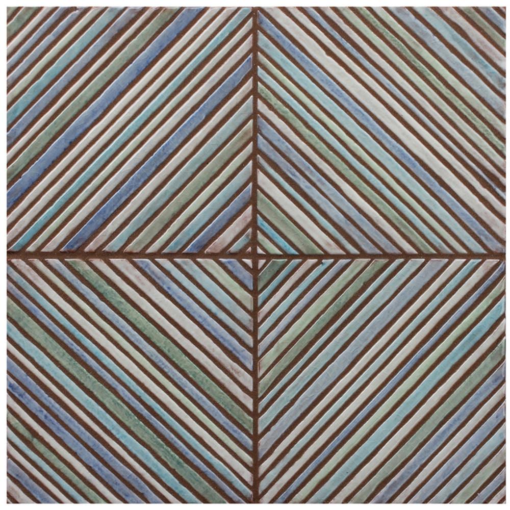 "Decorative tile ""Espigas vertical"" - 15 x 15cm - glazed in crystalline blue tones."