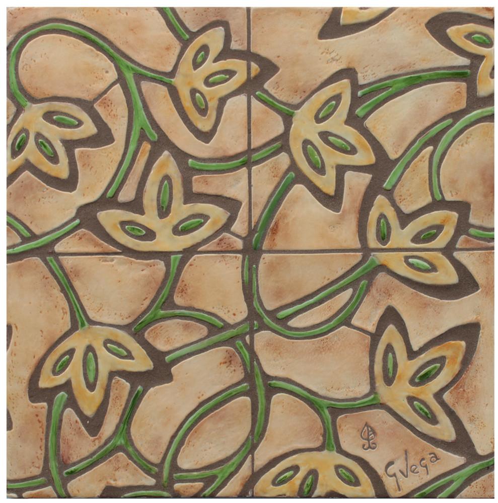 "Decorative tile ""Lolita"" - 20 x 20cm - glazed in matt ocre and crystalline green."