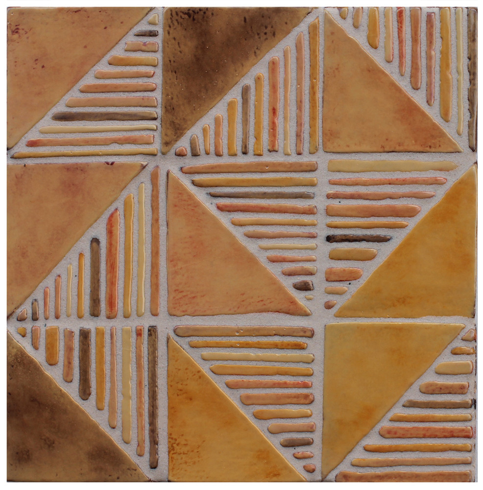 "Decorative tile ""Tacos Nadezhda"" - 10x10cm - glazed in crystalline ocre tones."