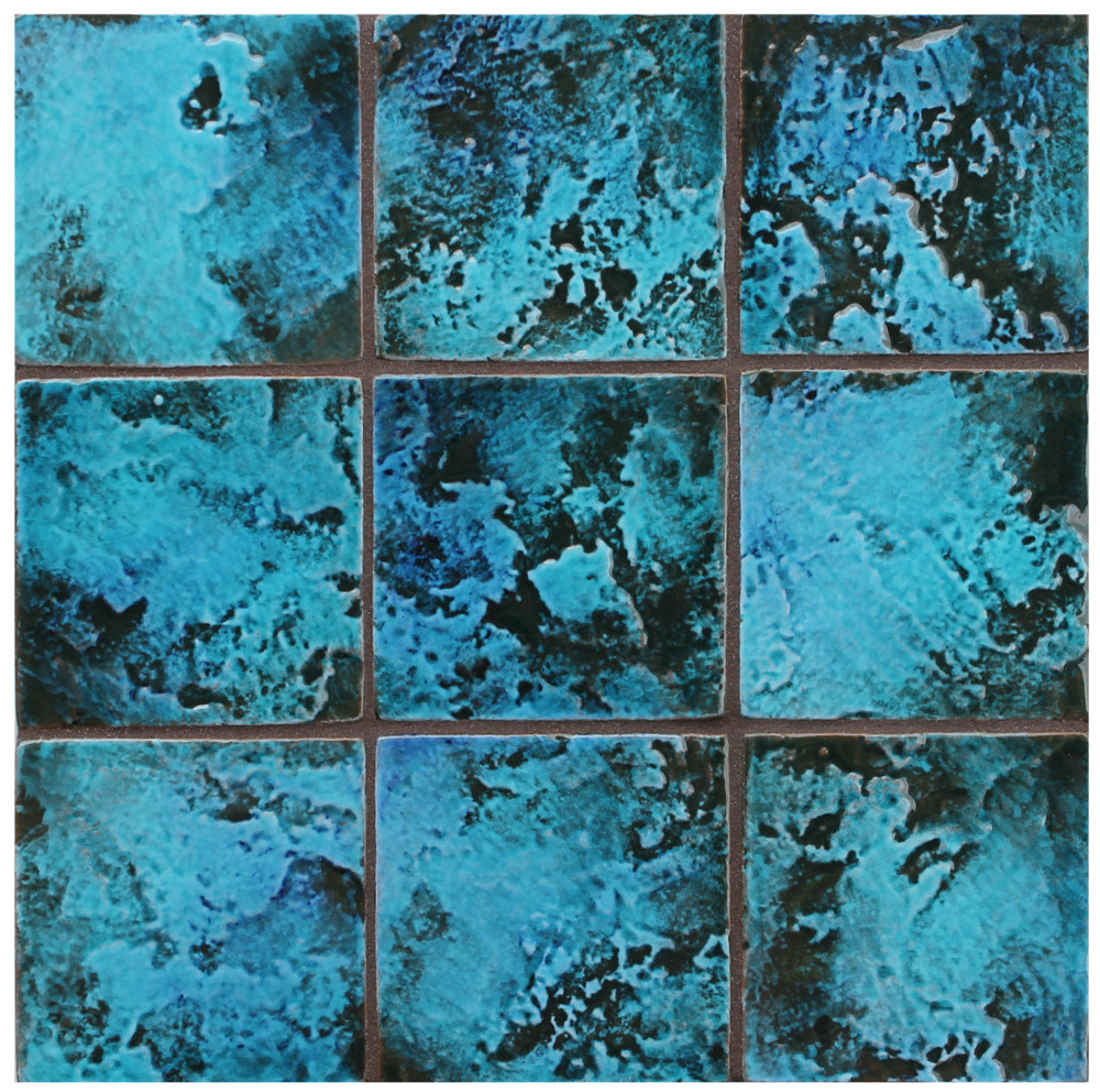 "Decorative tile ""Rustico"" - 10x10cm - Glazed in crystalline turquoise."