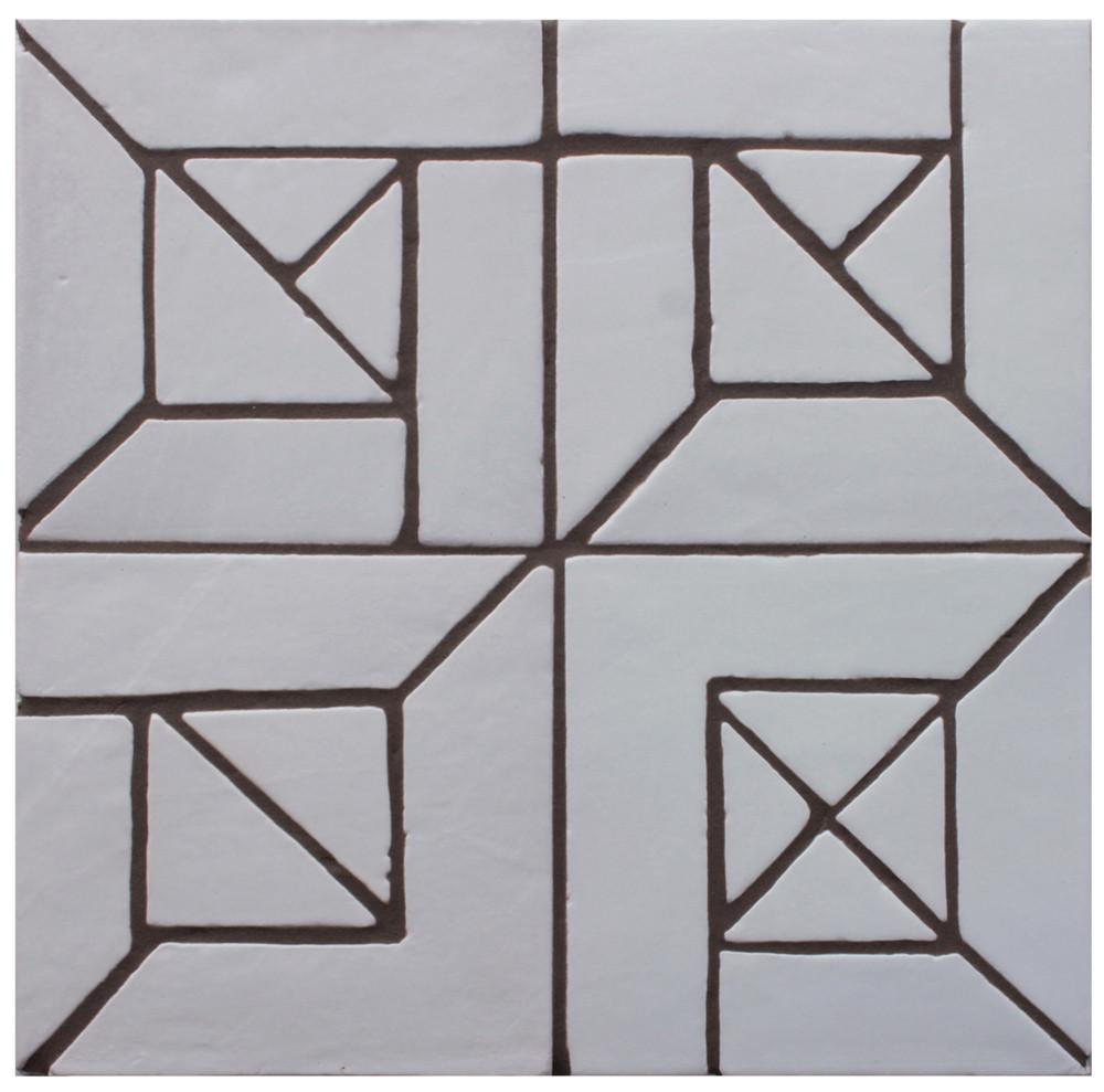 """Decorative tile """"Senegal"""" - 20 x 20cm - Glazed in satin white."""