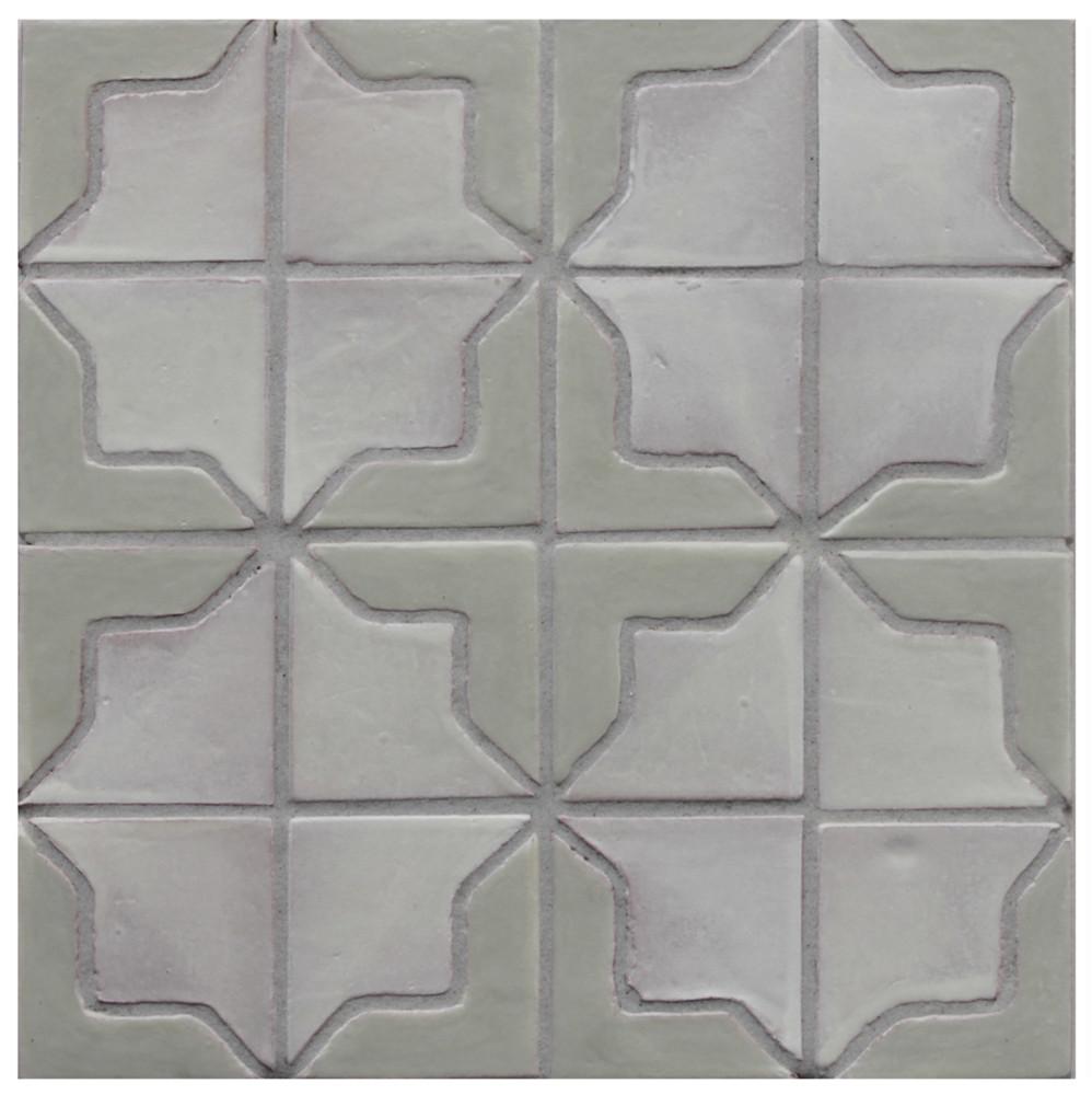 "Decorative tile ""Tacos Syria"" - 10x10cm - Glazed in satin kaki green and matt white."