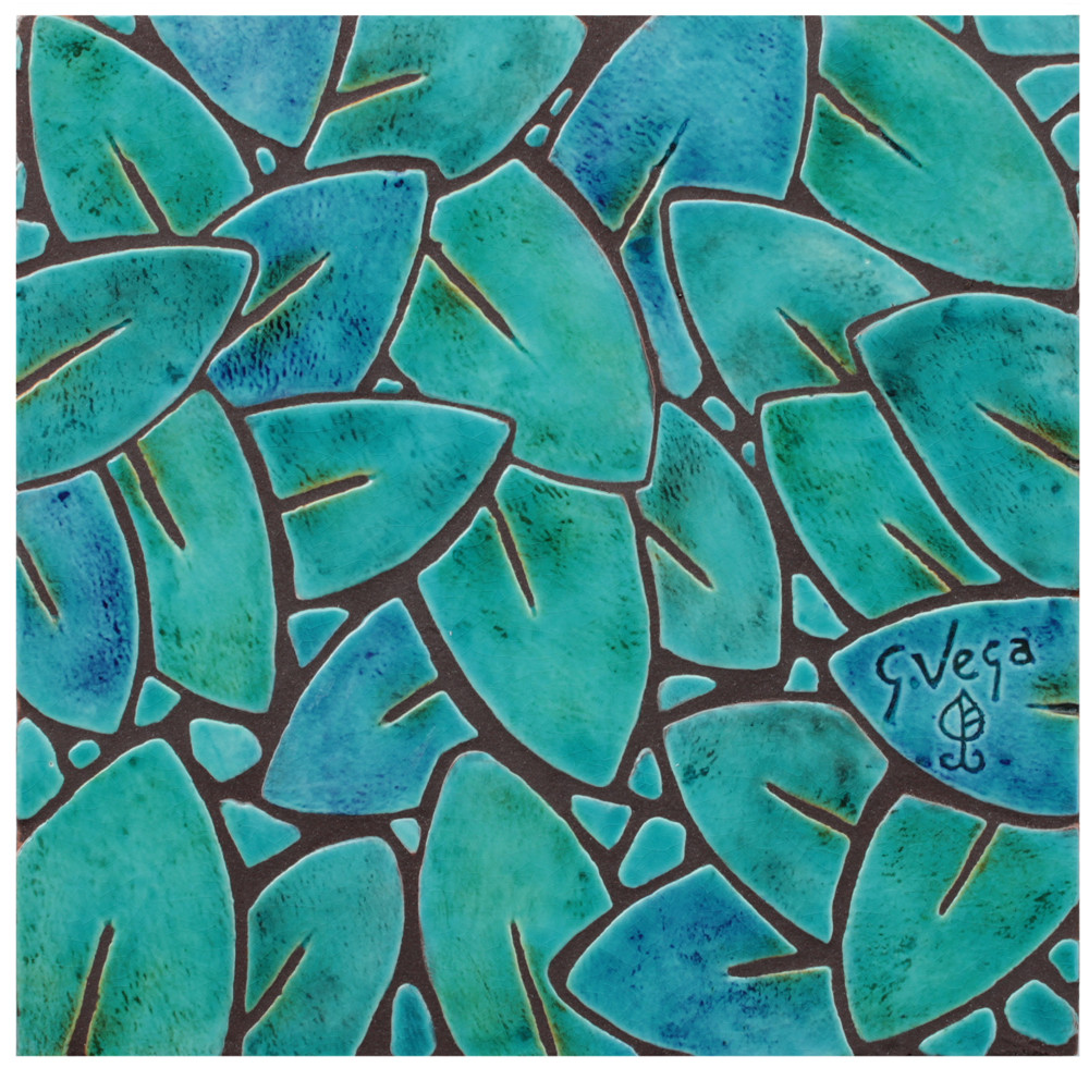 """Decorative tile """"Jungla leaves"""" - glazed in crystalline turquoise and green."""