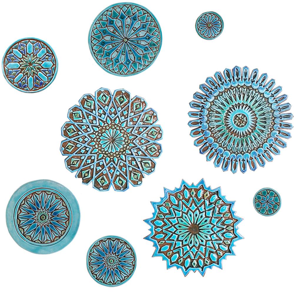 "Ceramic Wall Art Circle Turquoise Moroccan #1 [21cm/8.2""]"
