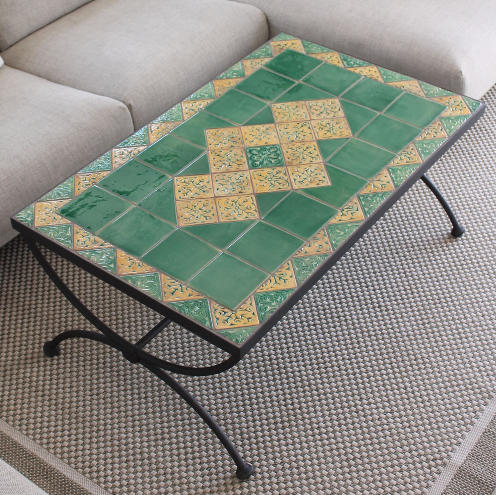 - Outdoor Coffee Table - Mosaic Table - Tulip Flowers - Square