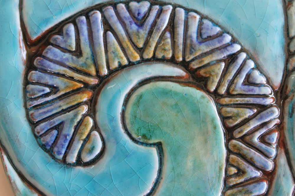 Ceramic Wall Art Cat Abstract Turquoise deco left
