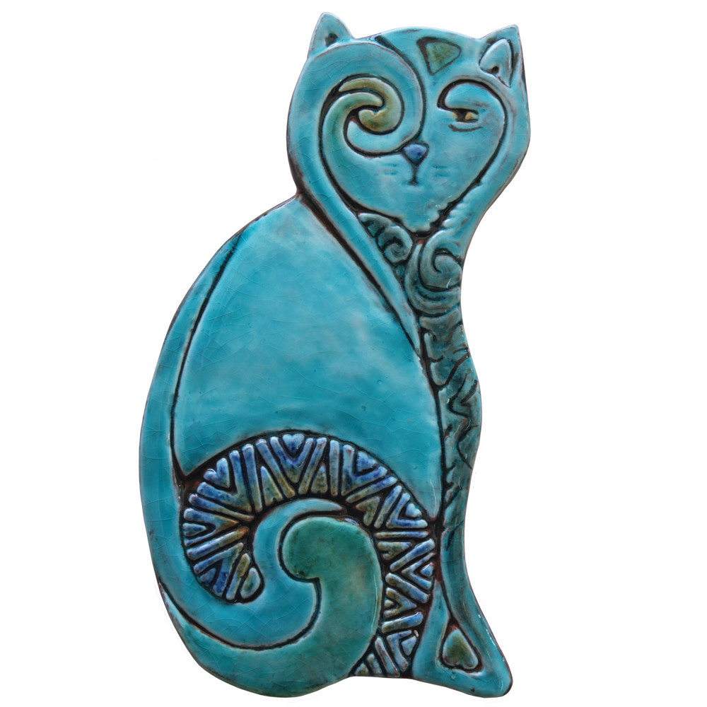 Ceramic Wall Art Cat Turquoise Plain SET2