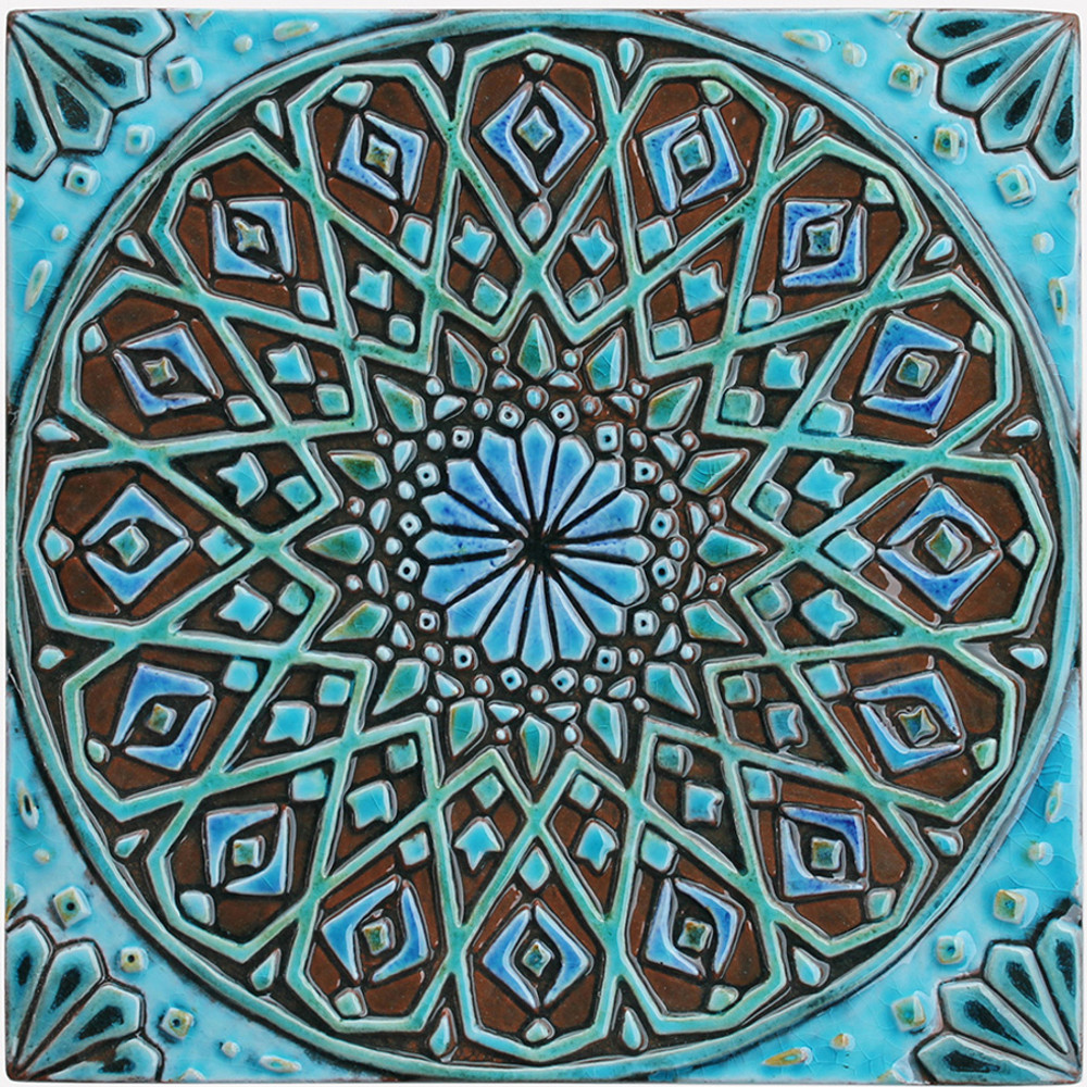 Turquoise Moroccan tile with decorative relief. Large decorative tiles handmade in Spain.