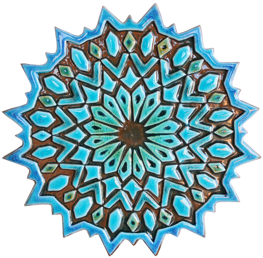 Ceramic Wall Art SET9 Turquoise Circles Moroccan