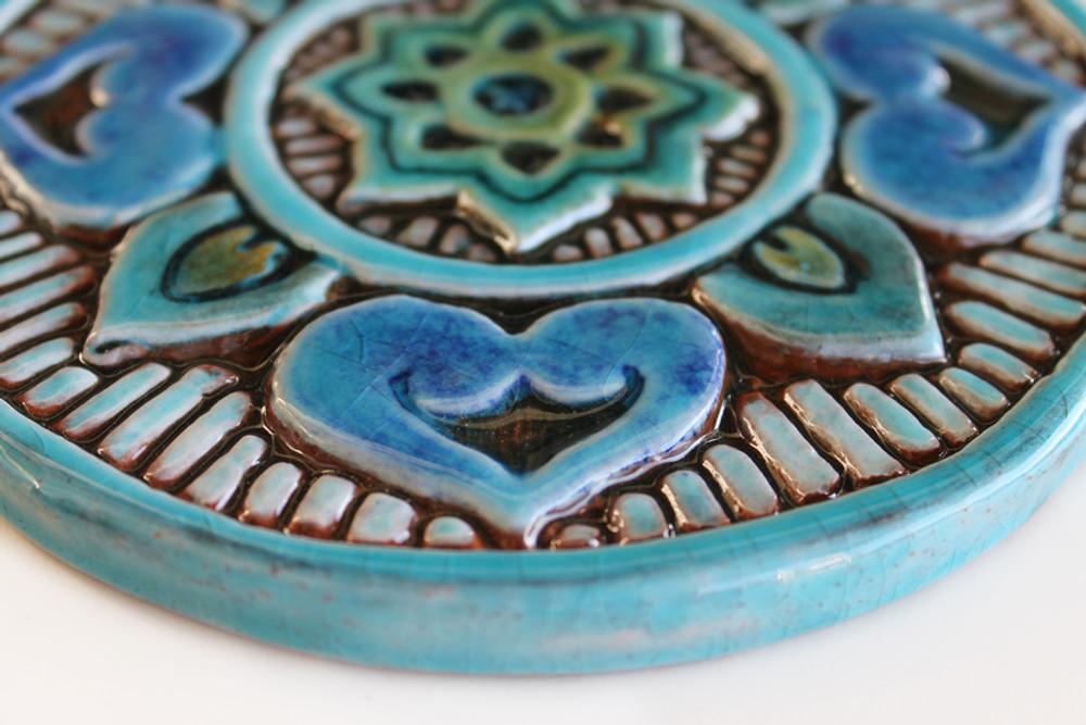Ceramic wall art SET3 Turquoise circles Mandala #5