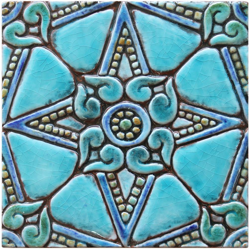 decorative tile - amara - turquoise [15cm]