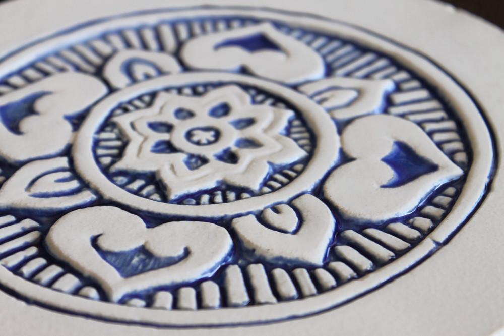 Wall decoration Mandalita 21cm with border - Blue&White - Zoom