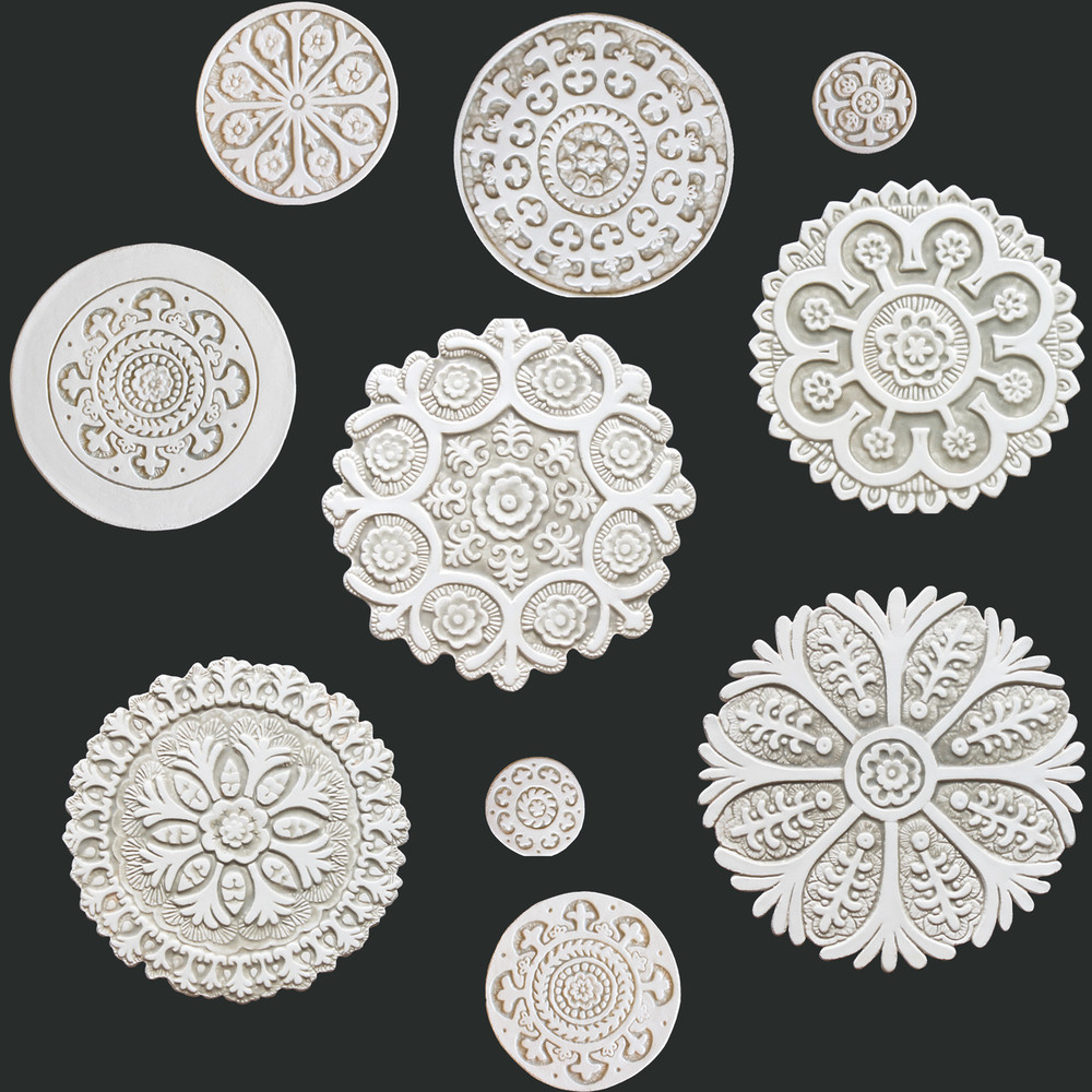 Suzani Ceramic Circles Wall Art Beige&White