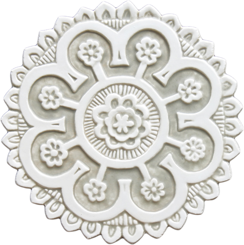 Suzani ceramic wall art #2 - Cutout White&Beige