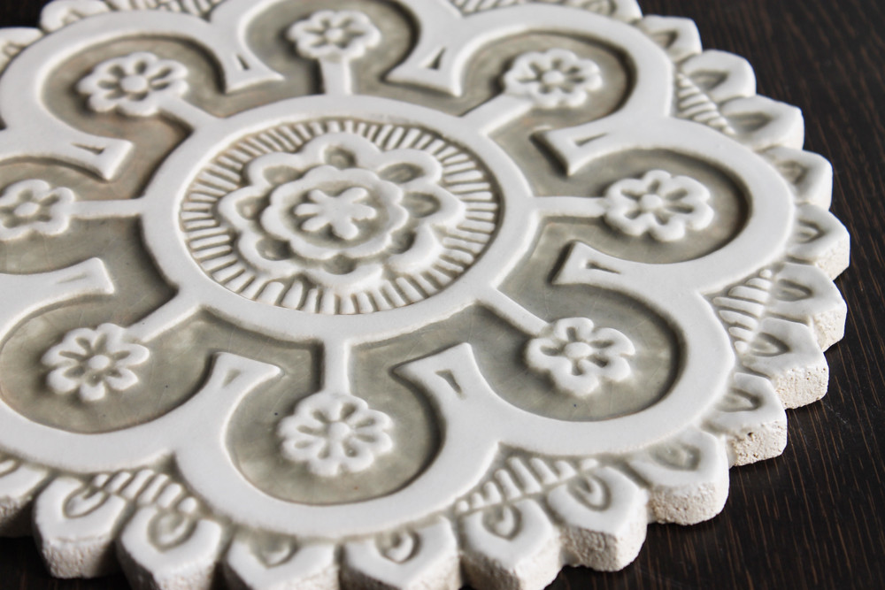 Suzani ceramic wall art #2 - Cutout Beige&White-Zoom