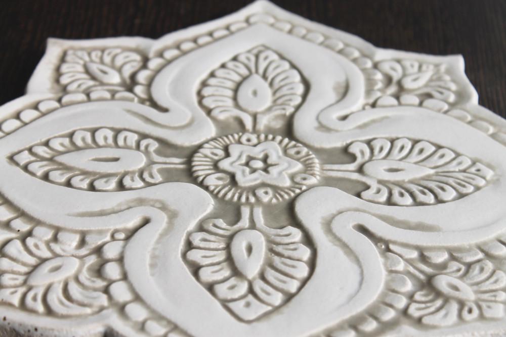 Ceramic wall art - Mandala Cutout - #5 - Beige - Zoom