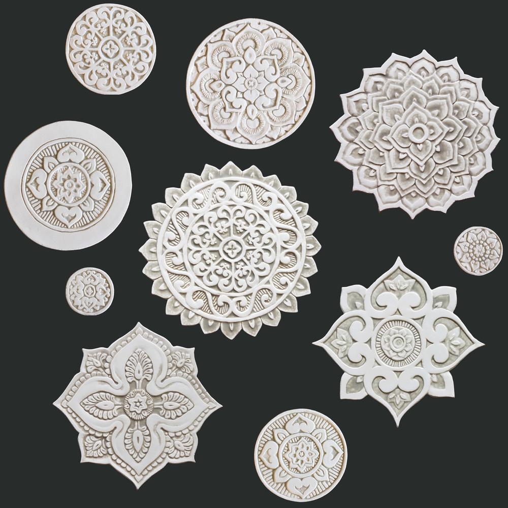 Ceramic wall art - Mandala - Circular Designs  - Beige