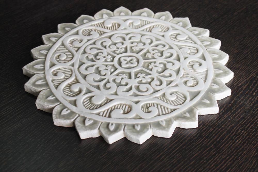 Ceramic wall art - Mandala Cutout - #1 - Beige- Angle