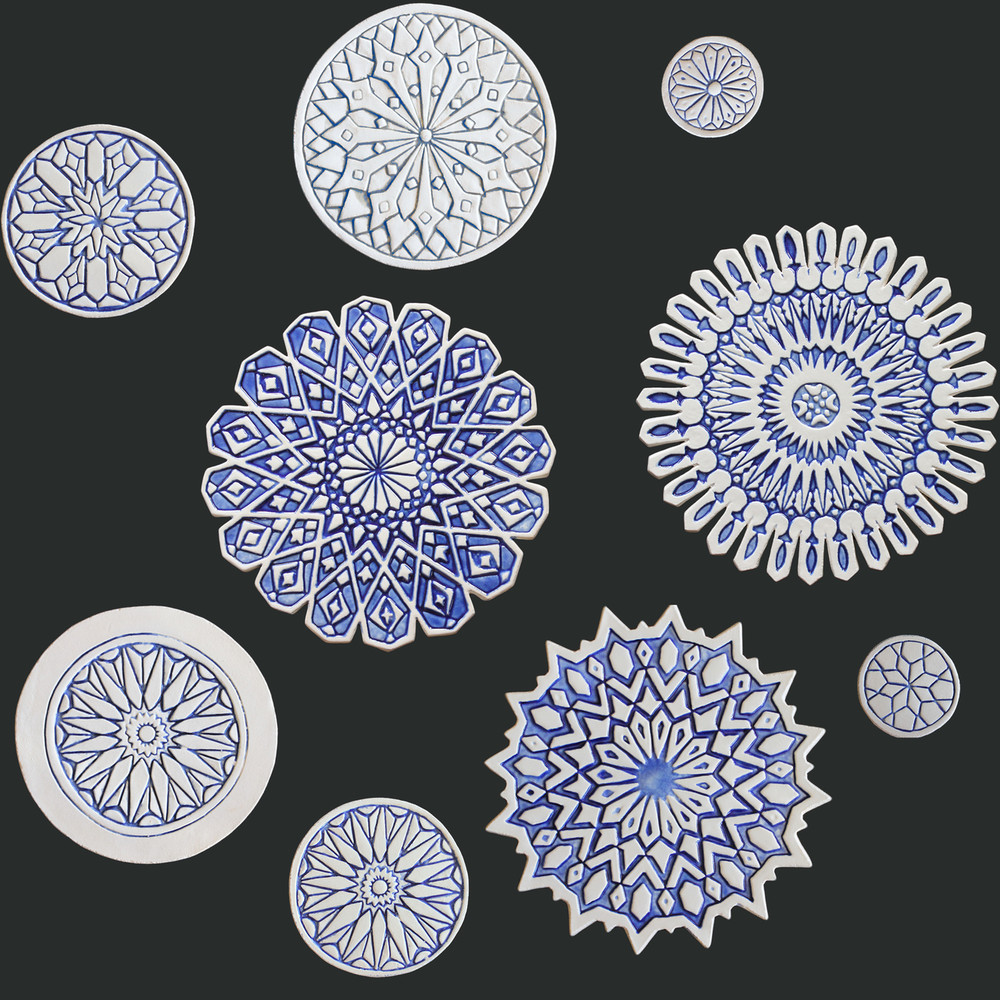 Ceramic wall art mixed designs blue & white