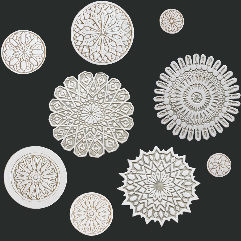 Ceramic circles wall art mixed designs beige & white