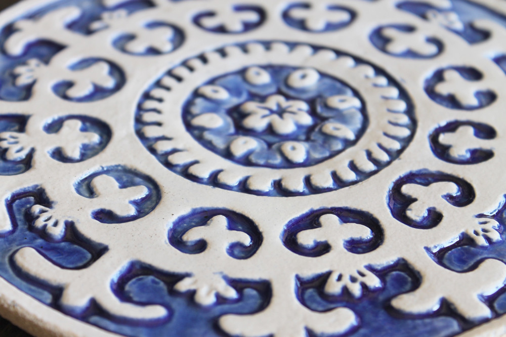 Suzani Circular 21cm Blue&White- Zoom