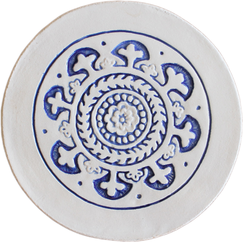 Wall decoration Suzani Circular  21cm with border - Blue&White