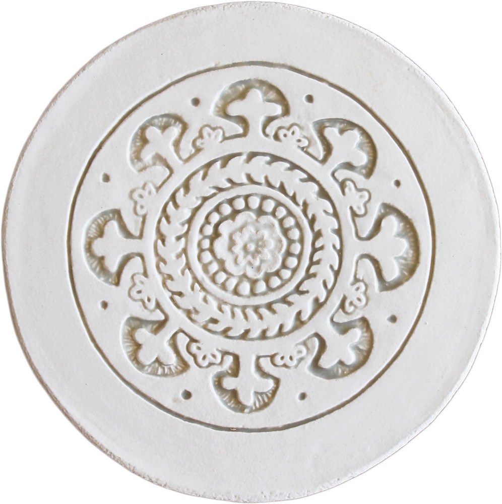 Wall decoration Suzani Circular  21cm with border - White&Beige
