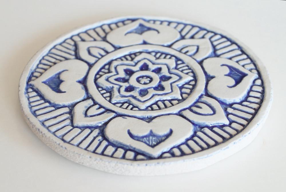 Ceramic wall art - Circular Mandala 15cm - Blue&White-Angle